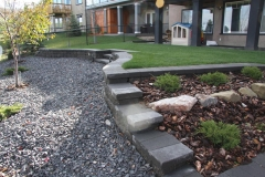 Borders - charcoal pisa II and capstone retaining wall and steps