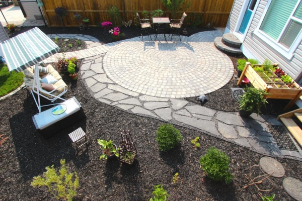 overhead view patio and path intersecting
