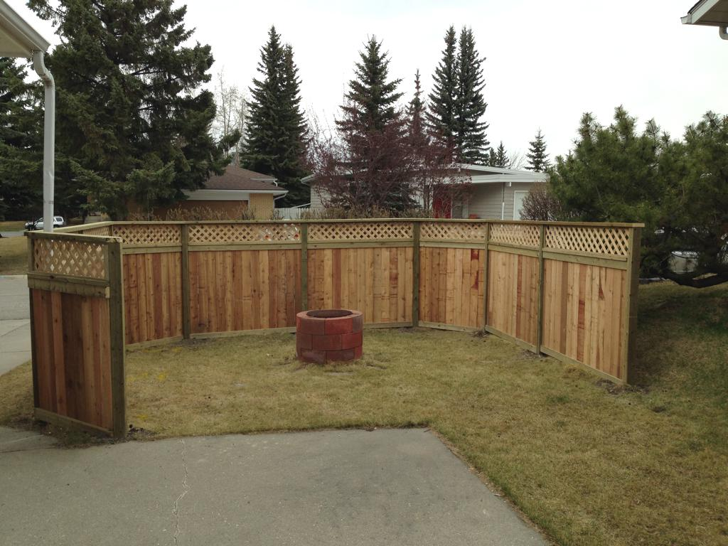 Fences - cedar privacy fence with lattice top and pressure treated posts