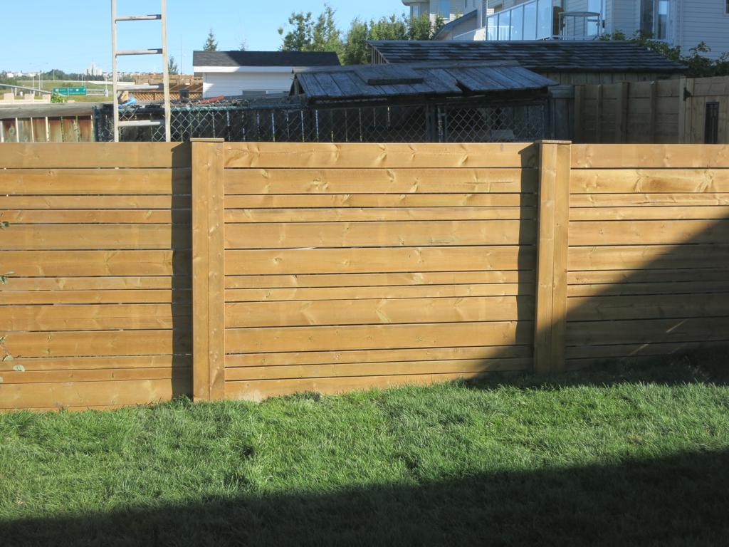 Fences - Horizontal slat cedar fence