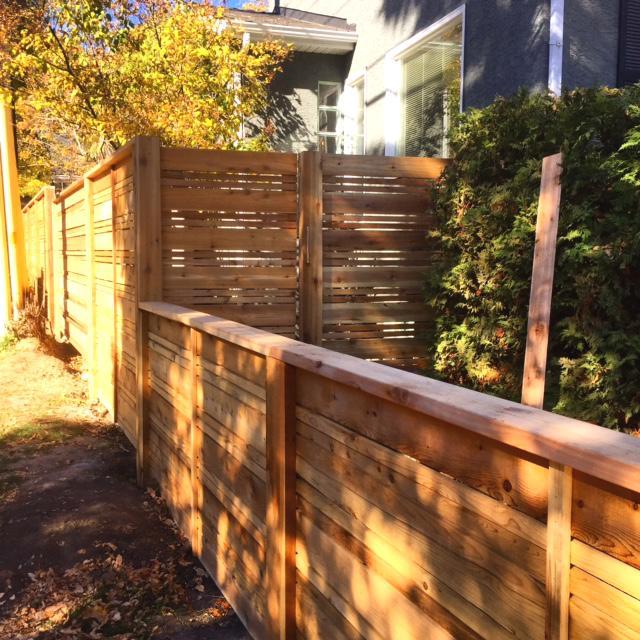 Fences - horizontal cedar slat fence with lower front yard fence