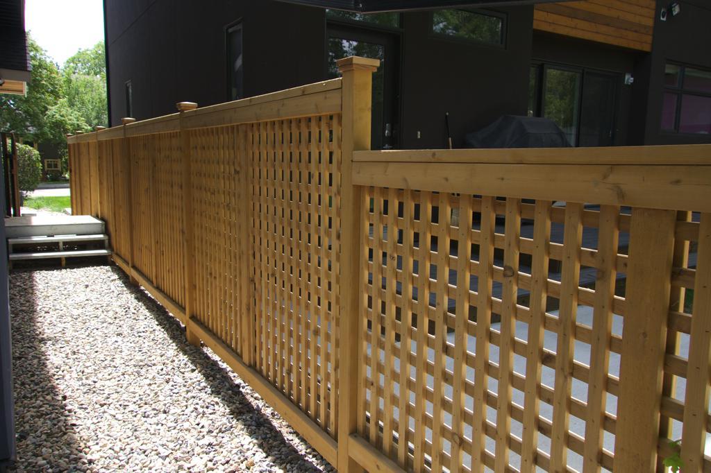 Fences - tiered cedar lattice fence