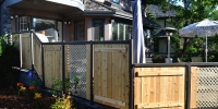 Fences - aluminum railing with custom cedar and lattice paneling