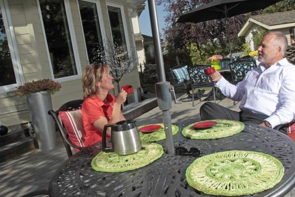 enjoying a cup coffee on new patio