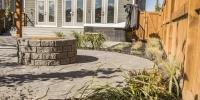 Modern Brick Flagstone Patio Slackstone Fire Pit Shrubs Ornamental Grass & Gravel
