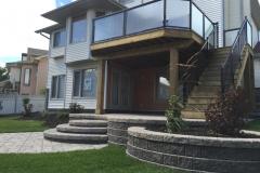 retaining wall - barkman genova patio and capstone retaining wall and raised bed