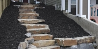 steps - ironstone slab steps and retaining wall with black mulch beds