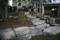 steps - armour stone slab steps and stackable retaining wall