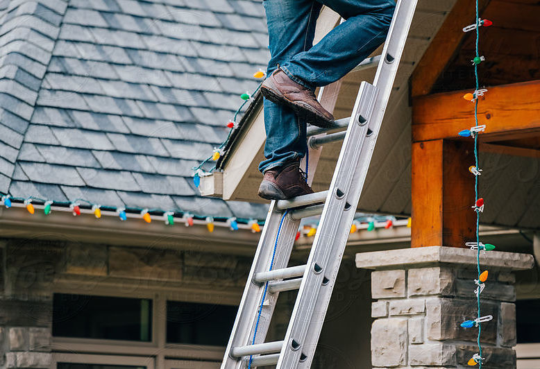 Safety tips climbing a ladder to install christmas lights